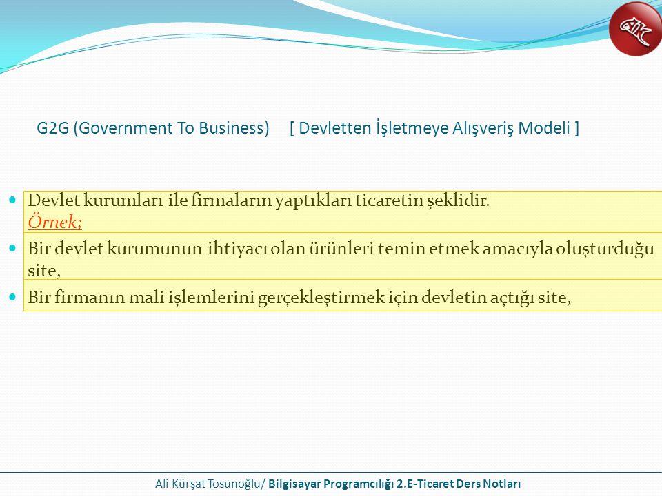 G2G (Government To Business) [ Devletten İşletmeye Alışveriş Modeli ]